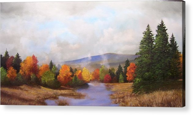 Fall Acrylic Print featuring the painting Fall Pond Scene by Ken Ahlering