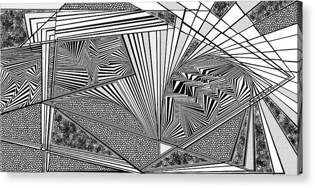 Dynamic Black And White Acrylic Print featuring the painting Exploration by Douglas Christian Larsen