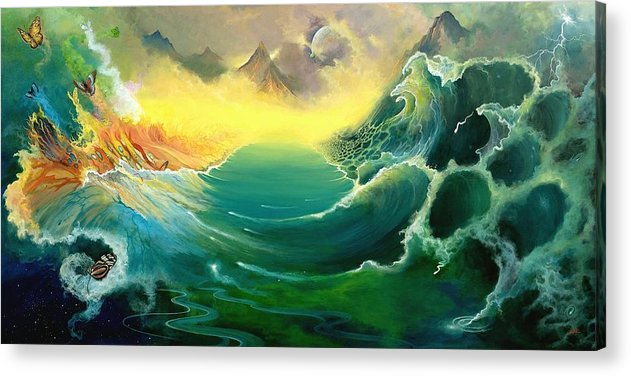 Fantasy Acrylic Print featuring the painting First Light by Boris Koodrin