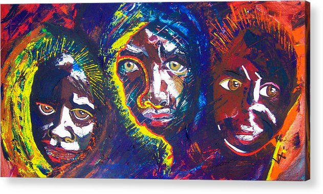 Darfur Acrylic Print featuring the painting Darfur - Eyes Of The Future by Valerie Wolf