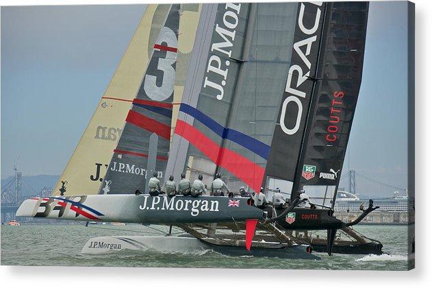 San Francisco Bay Acrylic Print featuring the photograph San Francisco Sailboat Racing by Steven Lapkin