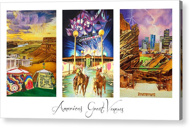 The Gorge Acrylic Print featuring the drawing America's Great Venues by Joshua Morton