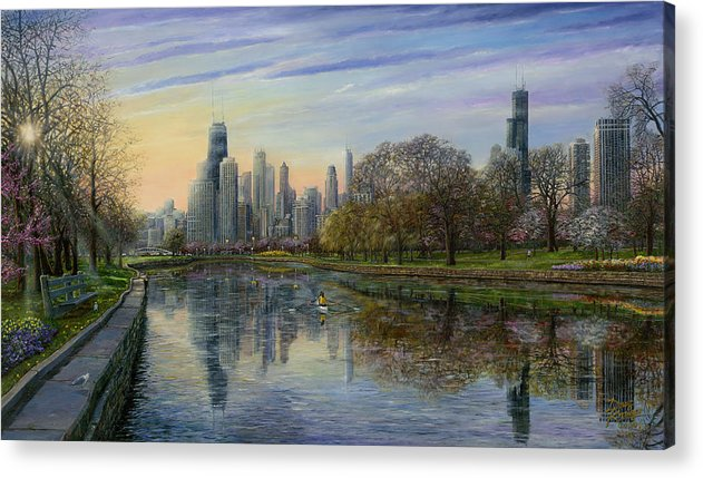 Chicago Skyline Acrylic Print featuring the painting Spring Serenity by Doug Kreuger