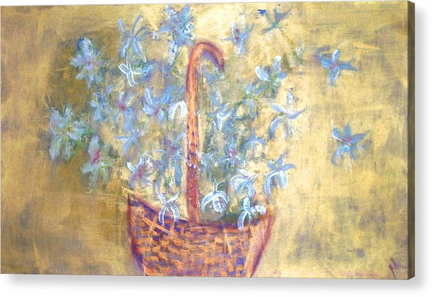 Floral Acrylic Print featuring the painting Wicker Basket Of Garden Flowers by Michela Akers