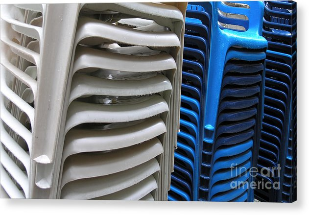 Chair Acrylic Print featuring the photograph Stacked Chairs by Carlos Alvim