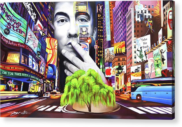 The Dave Matthews Band Acrylic Print featuring the painting Dave Matthews Dreaming Tree by Joshua Morton