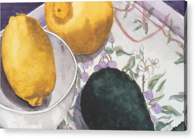 Still-life Acrylic Print featuring the painting Lemons And Avocado Still-life by Caron Sloan Zuger