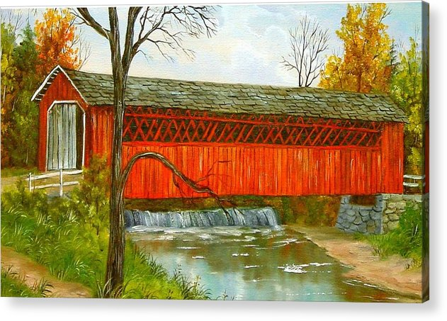 Painting Landscape Acrylic Print featuring the painting Henry Bridge Vt. by Marveta Foutch