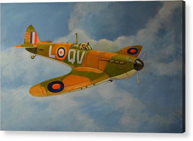 Aviation Art Acrylic Print featuring the painting Spitfire Mk1a by Murray McLeod
