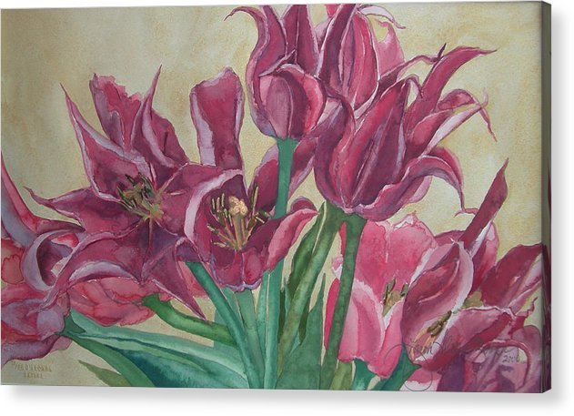 Watercolor Acrylic Print featuring the painting Mini-tulip Bouquet - 8 by Caron Sloan Zuger