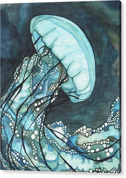 Jellyfish Acrylic Print featuring the painting Aqua Sea Nettle by Tamara Phillips