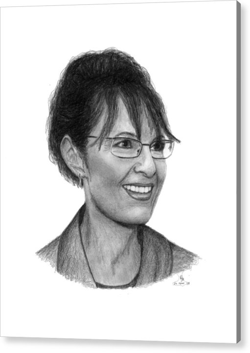 Palin Acrylic Print featuring the drawing Gop Vp Candidate Sarah Palin by Charles Vogan