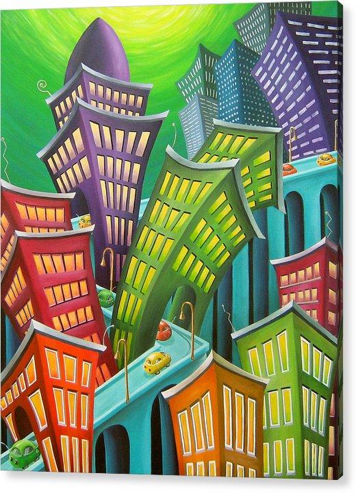 Urban Acrylic Print featuring the painting Urban Vertigo by Eva Folks