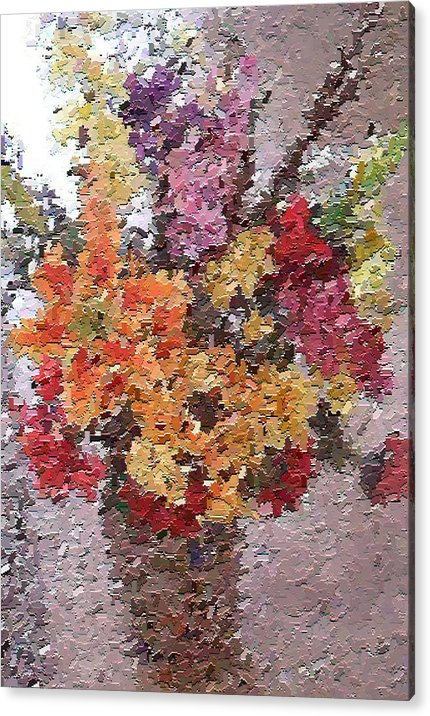 Still Life Acrylic Print featuring the painting Floral Arrangement by Don Phillips