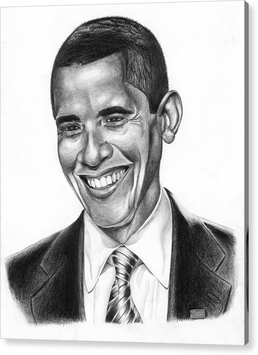 Barack Acrylic Print featuring the drawing Presidential Smile by Jeff Stroman