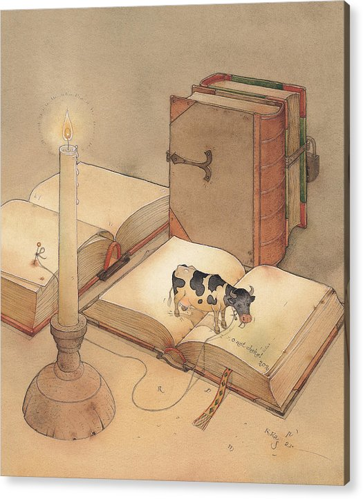 Science Books Cow Candle Reading Acrylic Print featuring the painting Bookish Cow by Kestutis Kasparavicius