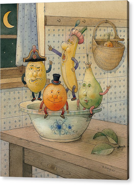 Night Moon Fruits Kitchen Acrylic Print featuring the painting Fruits by Kestutis Kasparavicius