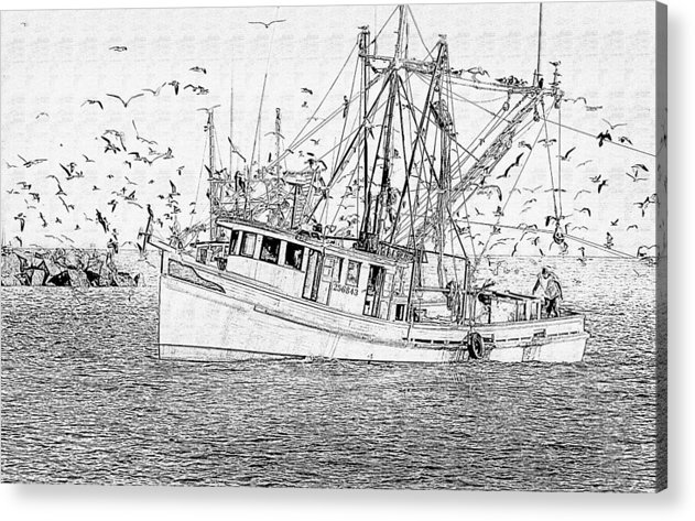 Boat Acrylic Print featuring the photograph Shrimping by Cecil Fuselier