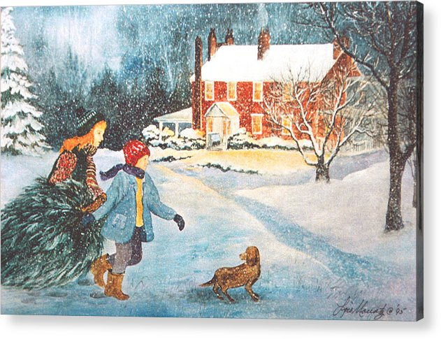 Winter;snow;christmas Tree;children;dog;brick House;farm House; Acrylic Print featuring the painting Bringing in the Tree by Lois Mountz