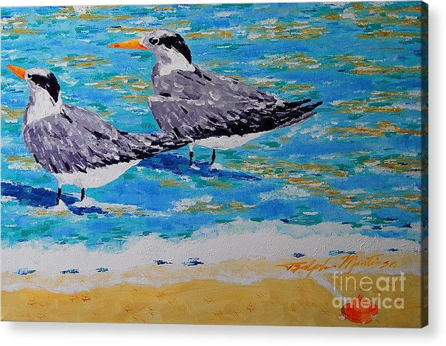 Beach Art Acrylic Print featuring the painting South Beach Visitors by Art Mantia