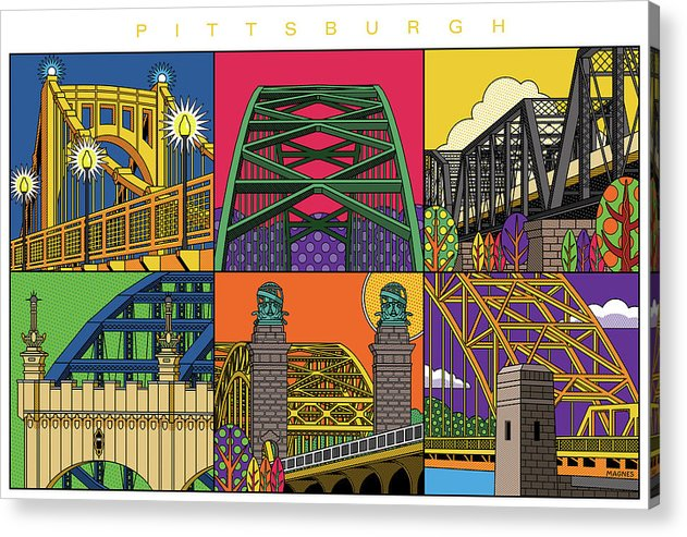 Illustration Acrylic Print featuring the digital art Pittsburgh City of Bridges horizontal by Ron Magnes