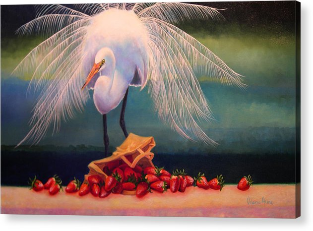 Egret Acrylic Print featuring the painting Egret With Strawberry Bag by Valerie Aune