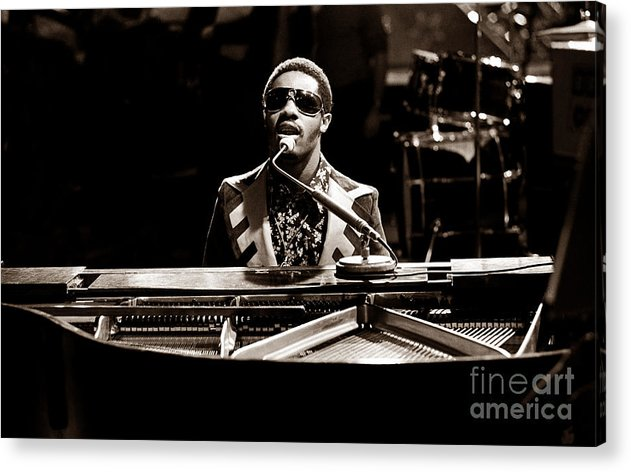 Stevie Wonder Acrylic Print featuring the photograph Stevie Wonder Softer Gentle Mood - Sepia by Chris Walter