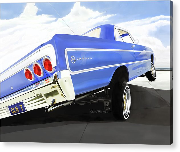 Lowrider Acrylic Print featuring the digital art 64 Impala Lowrider by Colin Tresadern