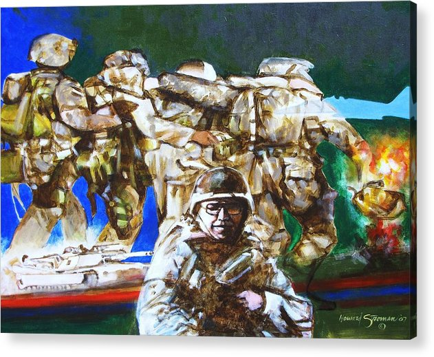 Military In Iraq Acrylic Print featuring the painting MED EVAC battle for fallujah iraq by Howard Stroman
