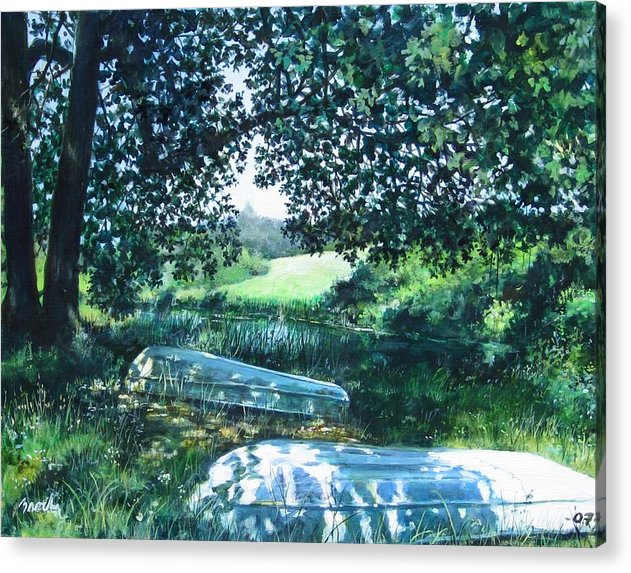 Landscape.boats Acrylic Print featuring the painting Launch by William Brody