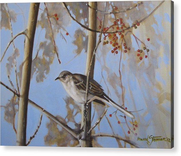 Bird;nature;outdoor;landscape;trees;sky; Acrylic Print featuring the painting Cold Day by Howard Stroman