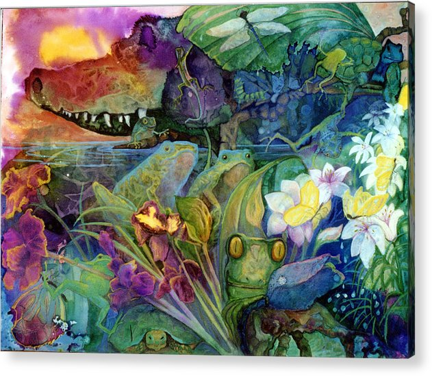 Aligator Acrylic Print featuring the painting Bayou Magic by Valerie Aune