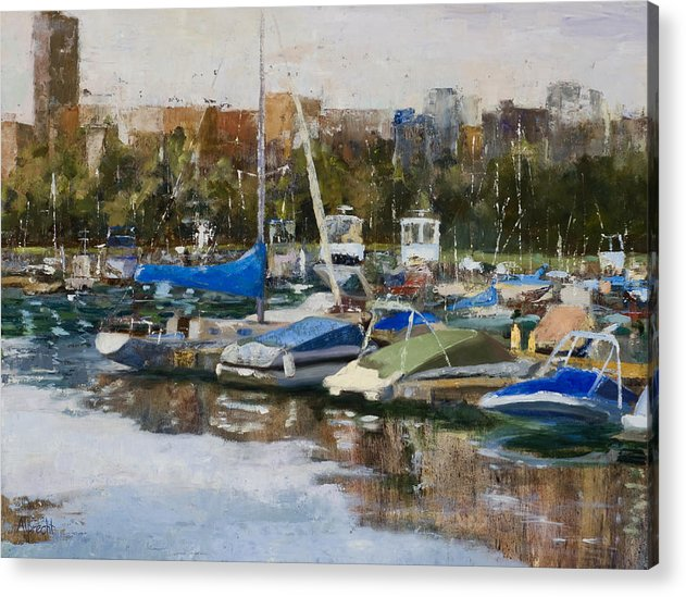 Cityscape Acrylic Print featuring the painting Boats in Montrose Harbor by Nancy Albrecht