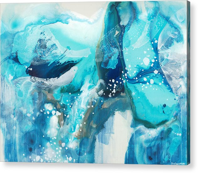 Abstract Acrylic Print featuring the painting Brave Depths by Claire Desjardins