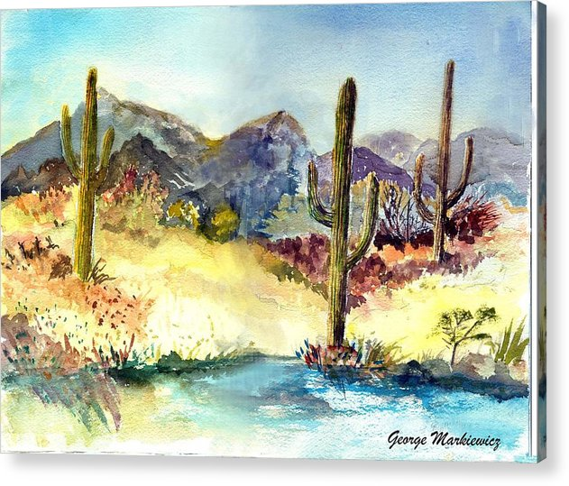 Desert Landscape Acrylic Print featuring the print Desert in the morning by George Markiewicz