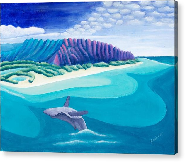 Landscape Acrylic Print featuring the painting Hawaiian Playground by Lynn Soehner