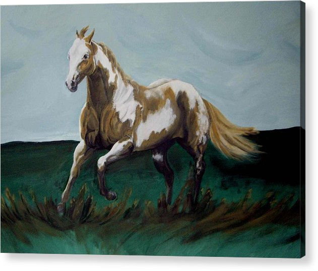 Horse Acrylic Print featuring the painting Running Paint by Glenda Smith
