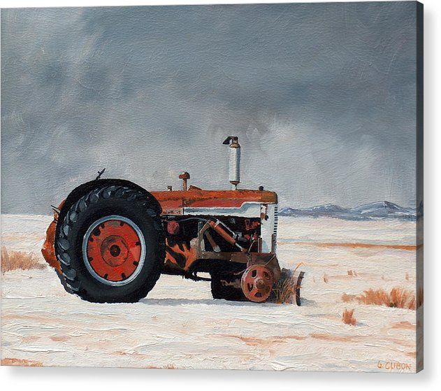 Tractor Acrylic Print featuring the painting Rusted sentinel by Greg Clibon