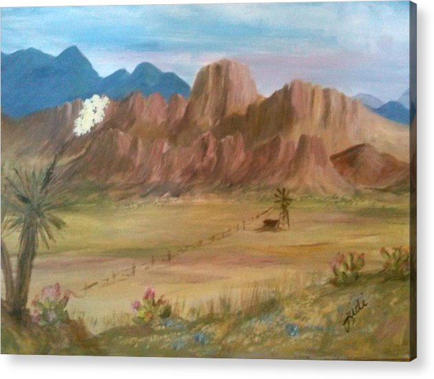 Desert Acrylic Print featuring the mixed media Water Tank in the Desert by Judi Pence