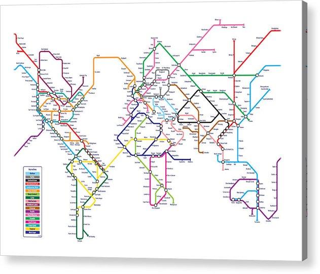 World Map Acrylic Print featuring the digital art World Metro Map by Michael Tompsett