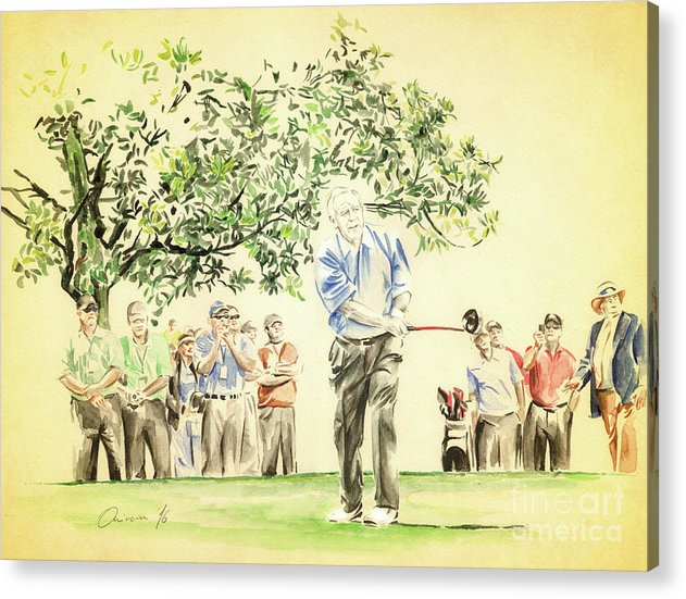 Arnold Palmer Acrylic Print featuring the painting The King under Magnolia by Olivera Cejovic