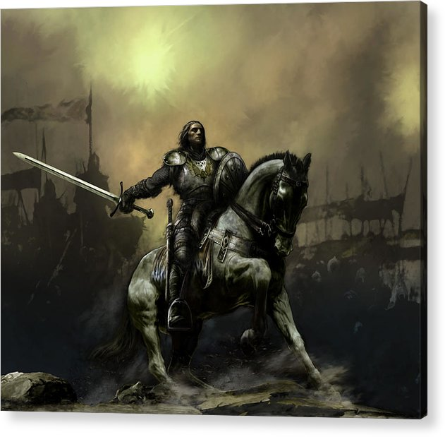 Fantasy Acrylic Print featuring the painting The Defiant by David Willicome