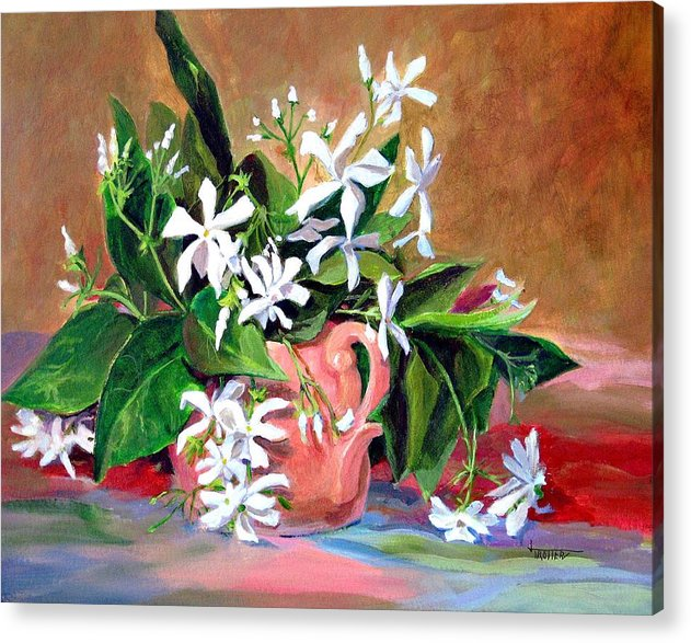 Floral Acrylic Print featuring the painting Confederate Jasmine by Jimmie Trotter