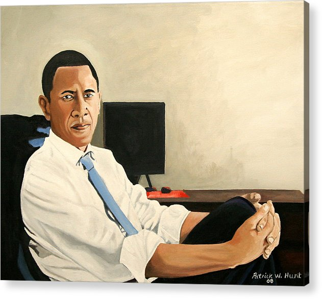 President Elect Obama Acrylic Print featuring the painting Looking Presidential by Patrick Hunt