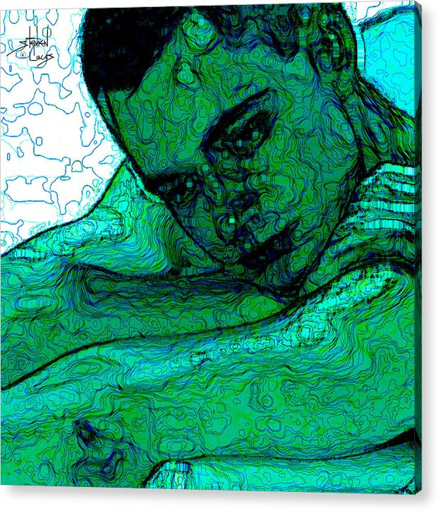 Abstract Acrylic Print featuring the digital art Turquoise Man by Stephen Lucas