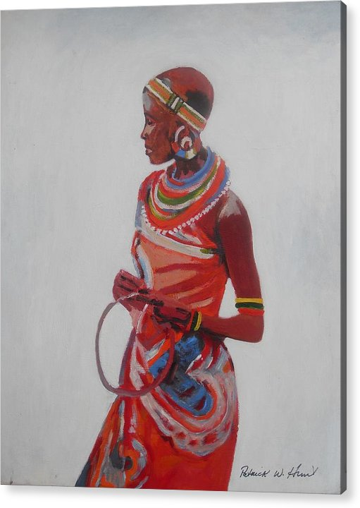 African American Art Acrylic Print featuring the painting African Lady In Red by Patrick Hunt