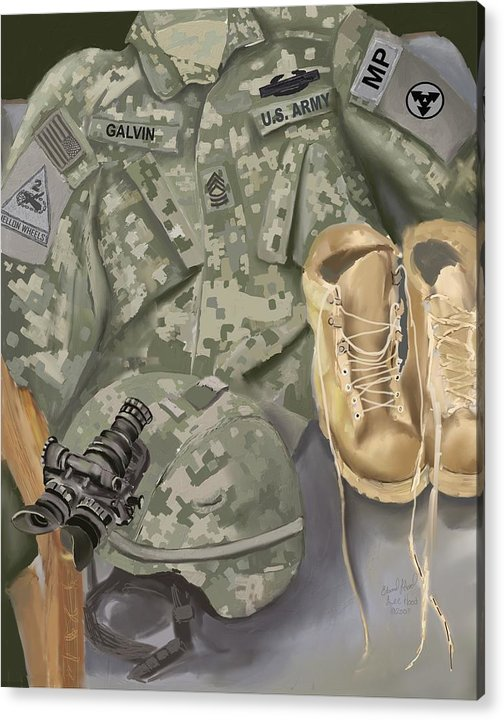 Costumized Art Acrylic Print featuring the mixed media Personalized Art designed by a soldier for a soldier Retiring or PCSing  by Lee Hood