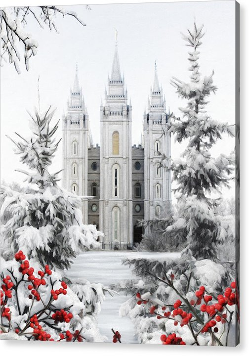 Salt Lake Acrylic Print featuring the painting Salt Lake Temple - Winter Wonderland by Brent Borup