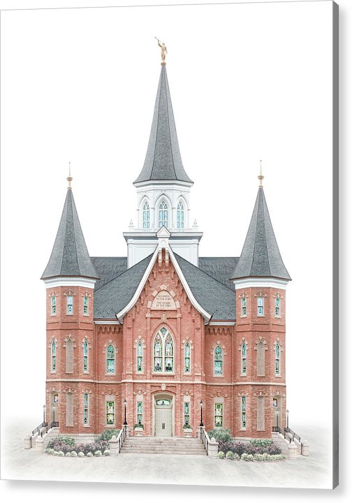 Provo City Center Acrylic Print featuring the digital art Provo City Center Temple - Celestial Series by Brent Borup