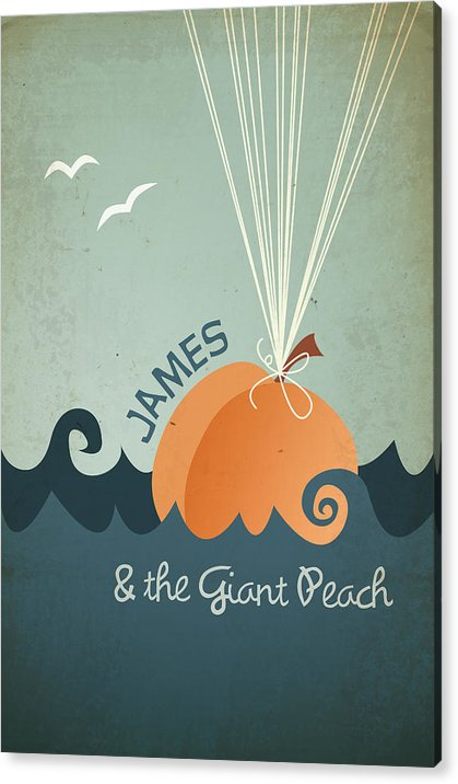 James Acrylic Print featuring the digital art James and the Giant Peach by Megan Romo